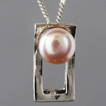 Fashion Freshwater Pearl Pendant, Rectangle