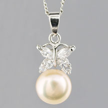 Fashion Freshwater Pearl Pendant, Butterfly